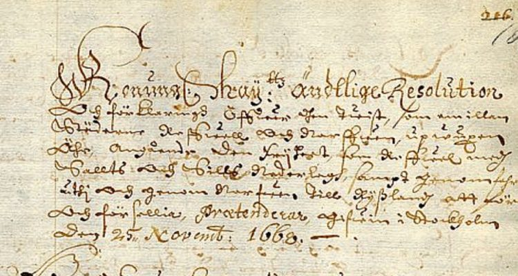 Narva town council resolution on a conflict with Tallinn about salt and herring trading rights, 1668