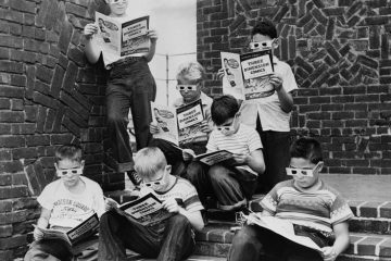 "Kids reading ""Mighty Mouse"", the first 3D comic book, 1953"
