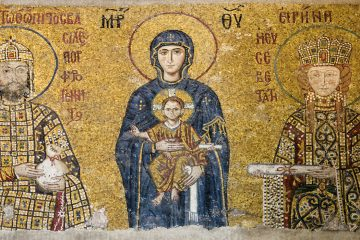 Giovanni II e sua moglie Piroska. Mosaico all'interno della Basilica di Santa Sofia (Istanbul)