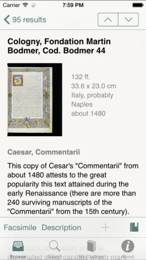 e-codices app descrizione screenshot