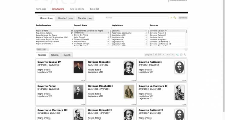 Schermata di esempio biografie